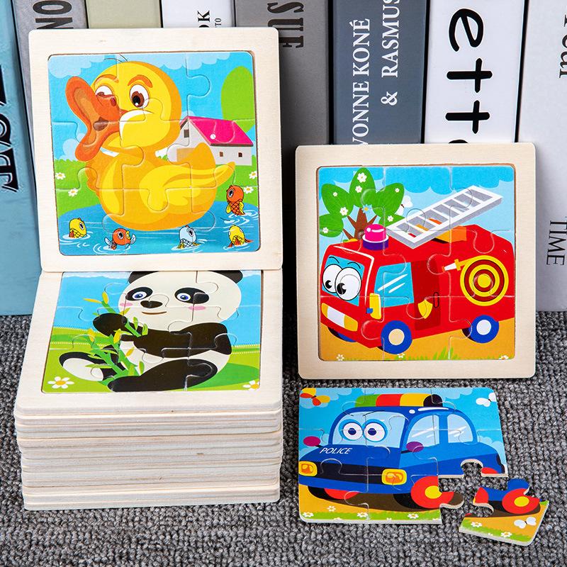 儿童拼图卡通动物9片拼板宝宝早教启蒙认知木质制玩具跨境厂家
