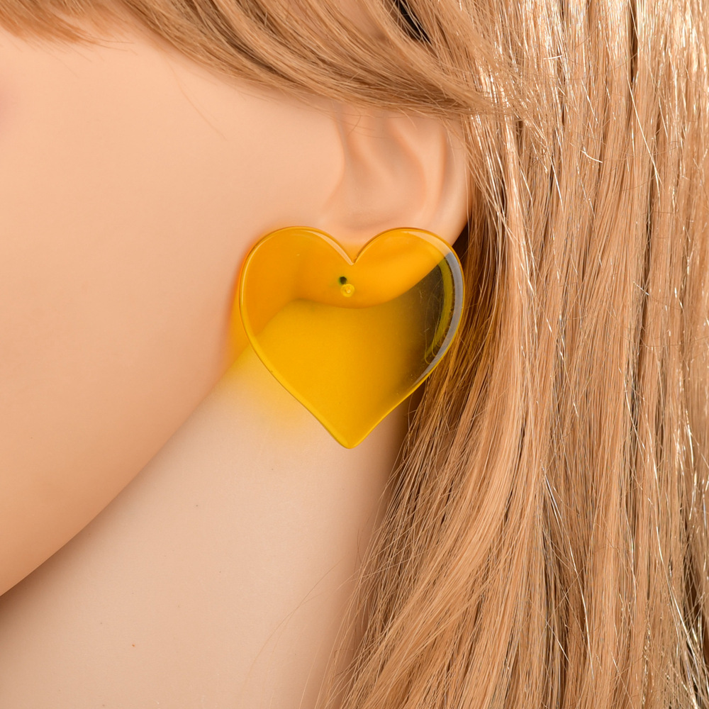 transparent heart hypoallergenic earrings  NHBQ301580