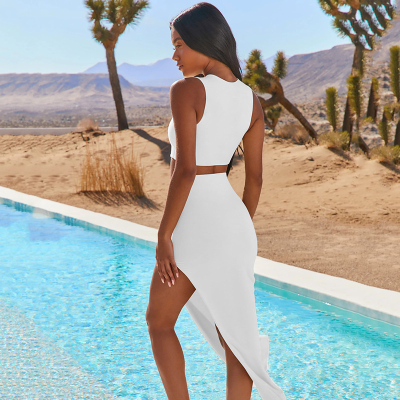Solid color tank top & side cut skirt set NSFD47632