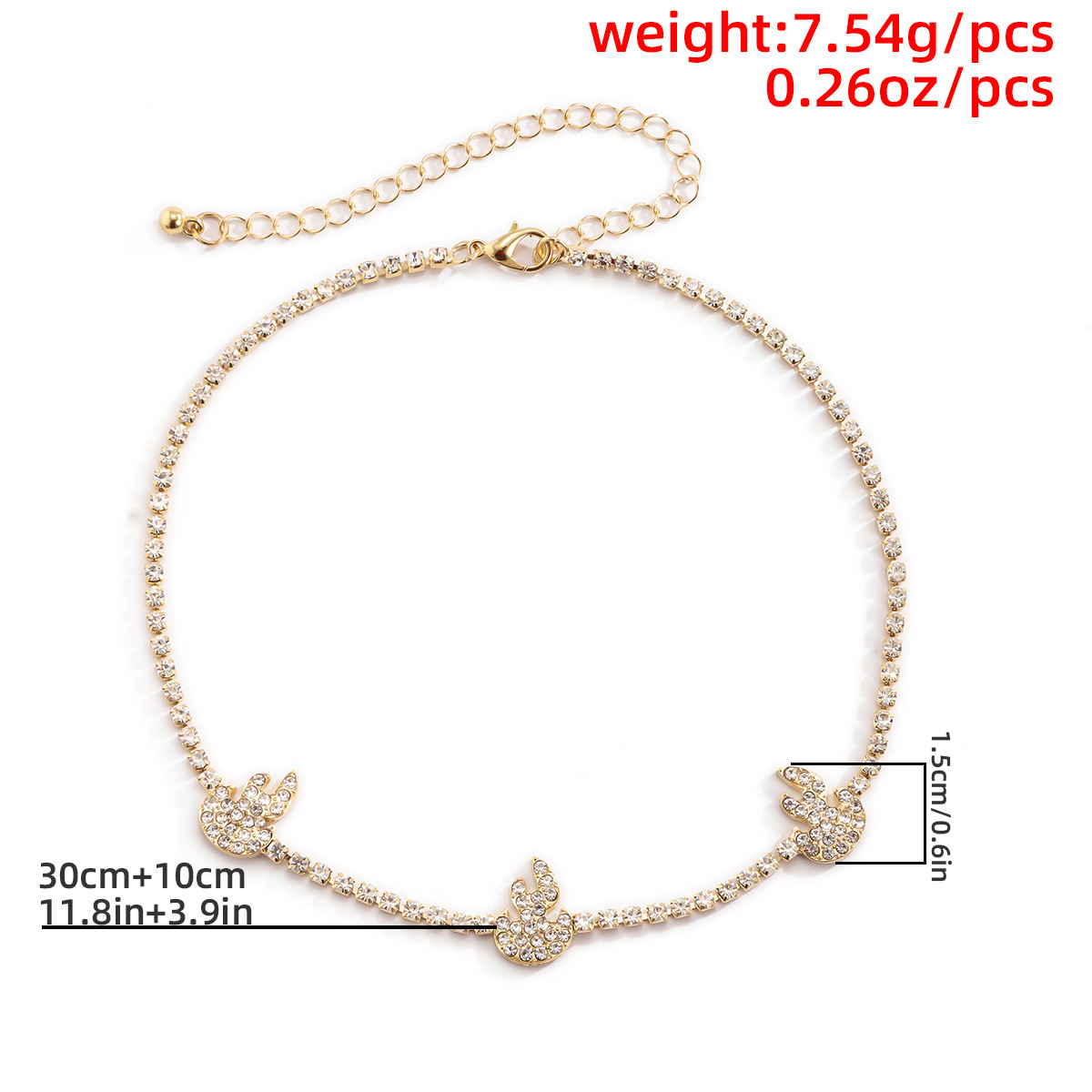diamond flame necklace  NHXR316661