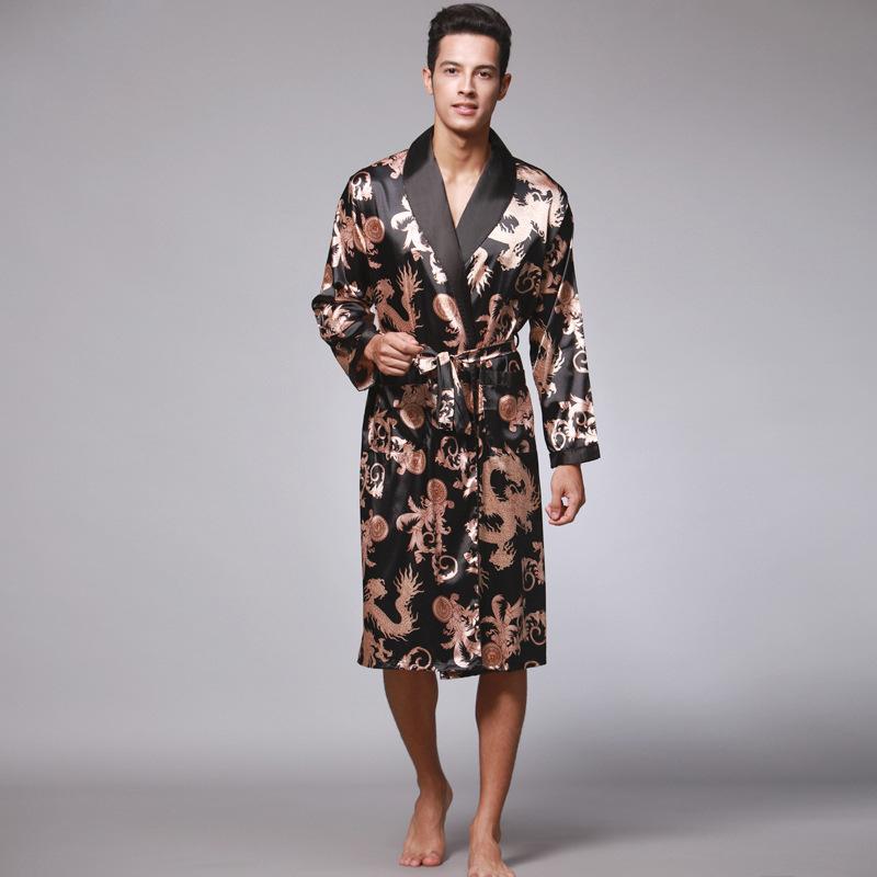跨境货源丝绸冰丝长袖男士睡衣长款睡袍浴袍家居服厂家批发 WP032