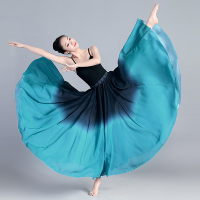 Blue black gradient colored Flamenco dance skirts Classical dance swing skirts  elegant Xinjiang dance performance skirts, modern ballet practice skirts