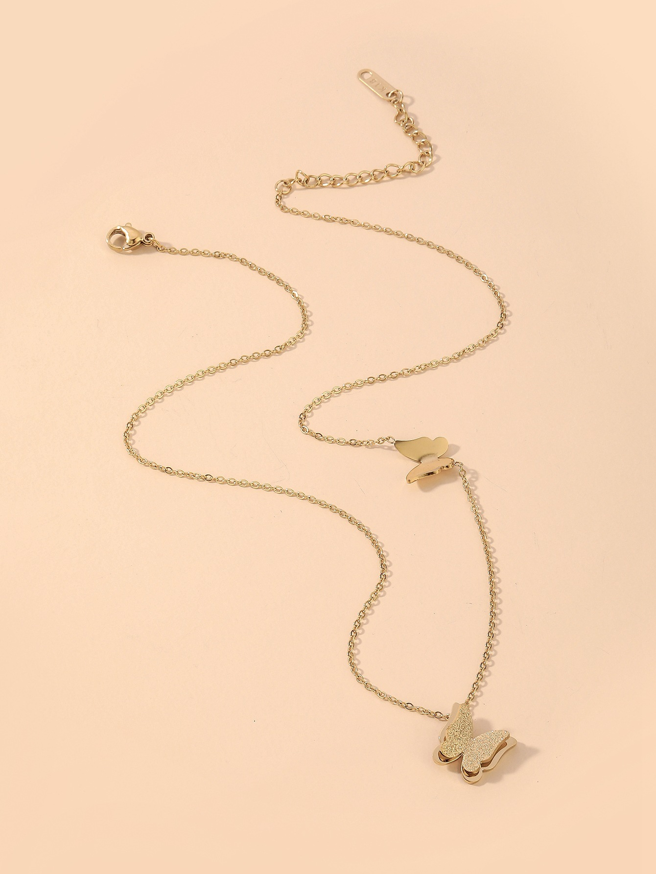 cute two butterfly titanium steel necklace  NHNJ321458