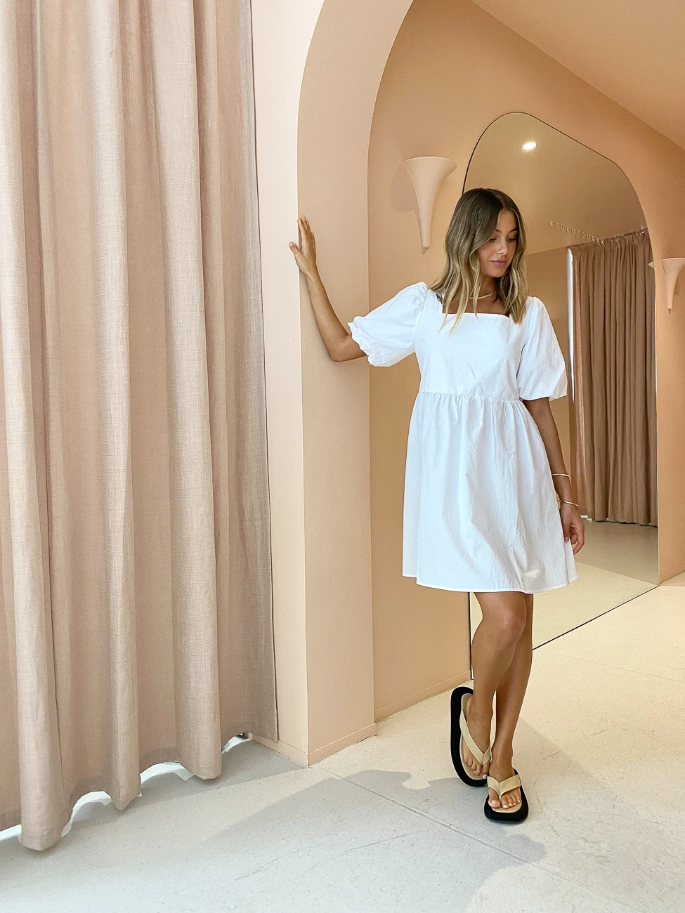 Summer white pure square neck dress NSYSB47976