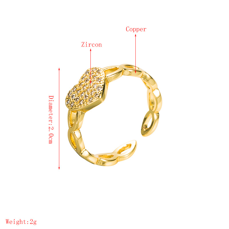 fashion heart letter zircon copper goldplated opening ring  NHLN355162
