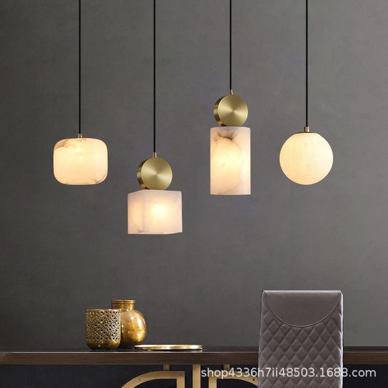 全铜云石轻奢吊灯新中式餐厅床头书房卧室北欧现代极简楼梯新中式