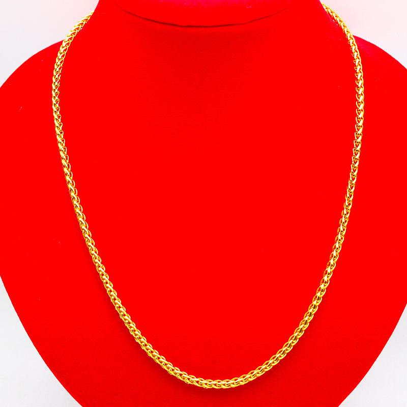 仿金3mm蛇骨链男女小号项链简约金色链子镀金细项链男士配链