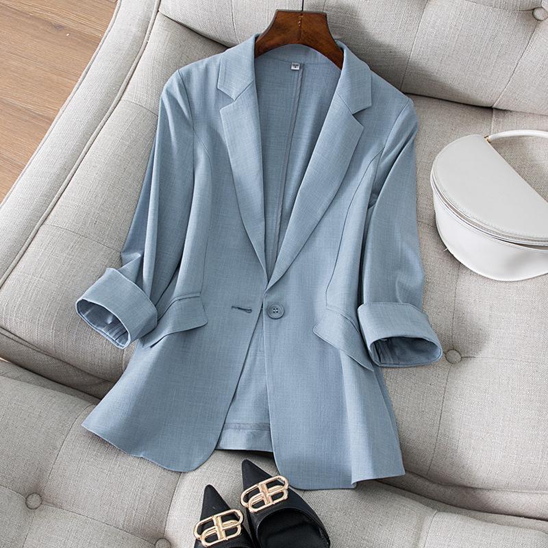 天丝亚麻小西装外套女七分袖夏季新款韩版气质修身显瘦西服女上衣