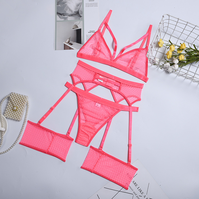 comfortable soft lace see-through mesh three-piece set NSYX64693