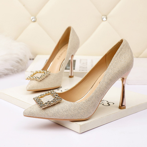 8777-10 in Europe and the sexy pointed shallow mouth high-heeled shoes square buckle diamond women's shoe heel shoes web celebrity party