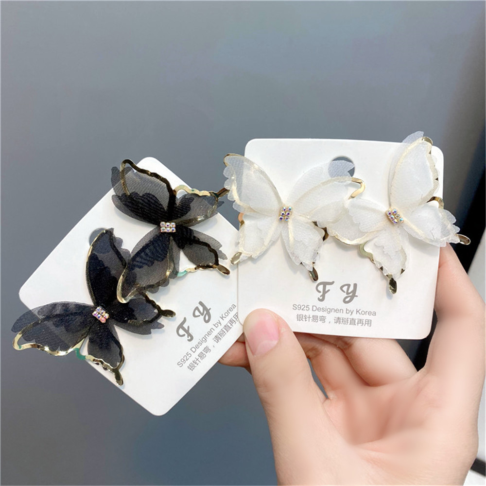 Fashion Hollow Butterfly Diamond-studded Earrings NHFS331960