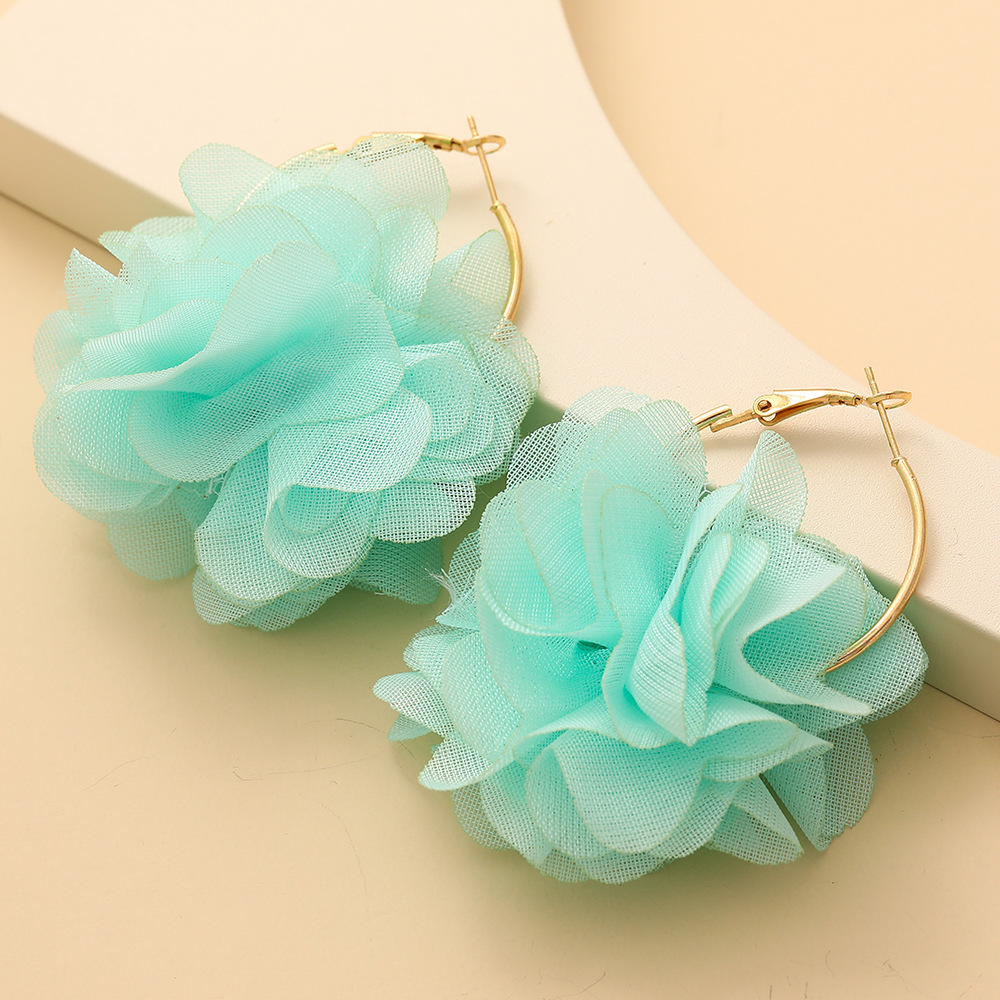 fashion chiffon cloth lace flower multi-layer earrings NHJJ323555