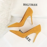 1829-7 European and American fashion simple thin heel super high heel suede shallow mouth pointed sexy night club slim women's single shoes