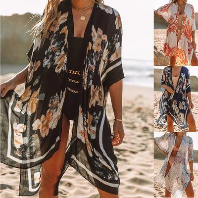 Long slit chiffon print beach dress for women sunscreen blouse vacation dresses bikini swimsuit bathing wear cover-ups