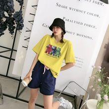 韩国女装三只小熊印花短袖T恤女2021年夏新款韩版宽松纯色棉上衣