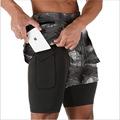 欧美夏季新款肌肉兄弟运动健身双层立体袋短裤男式休闲运动五分裤