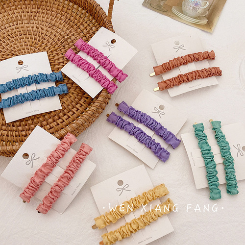 2 pairs candy hairpin barrette Mori is a sweet color versatile pleated banger with hairpin national headdress