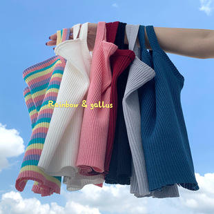 Knitted small camisole female Korean version of self-cultivation net celebrity all-match scheming short section was thin and exposed the navel with a bottoming shirt tide