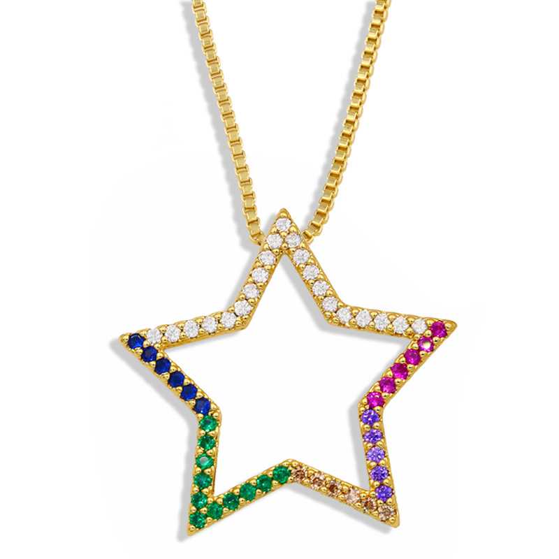 fashion simple five-pointed star moon pendant necklace NHAS303281