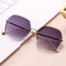 2021新款切边时尚太阳镜无框潮流气质墨镜女防紫外线大脸显瘦眼镜