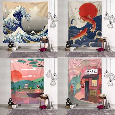 Japanese grid series Kanagawa surfing in the background hang isn ukiyo drawing living room tapestry wall hanging wall
