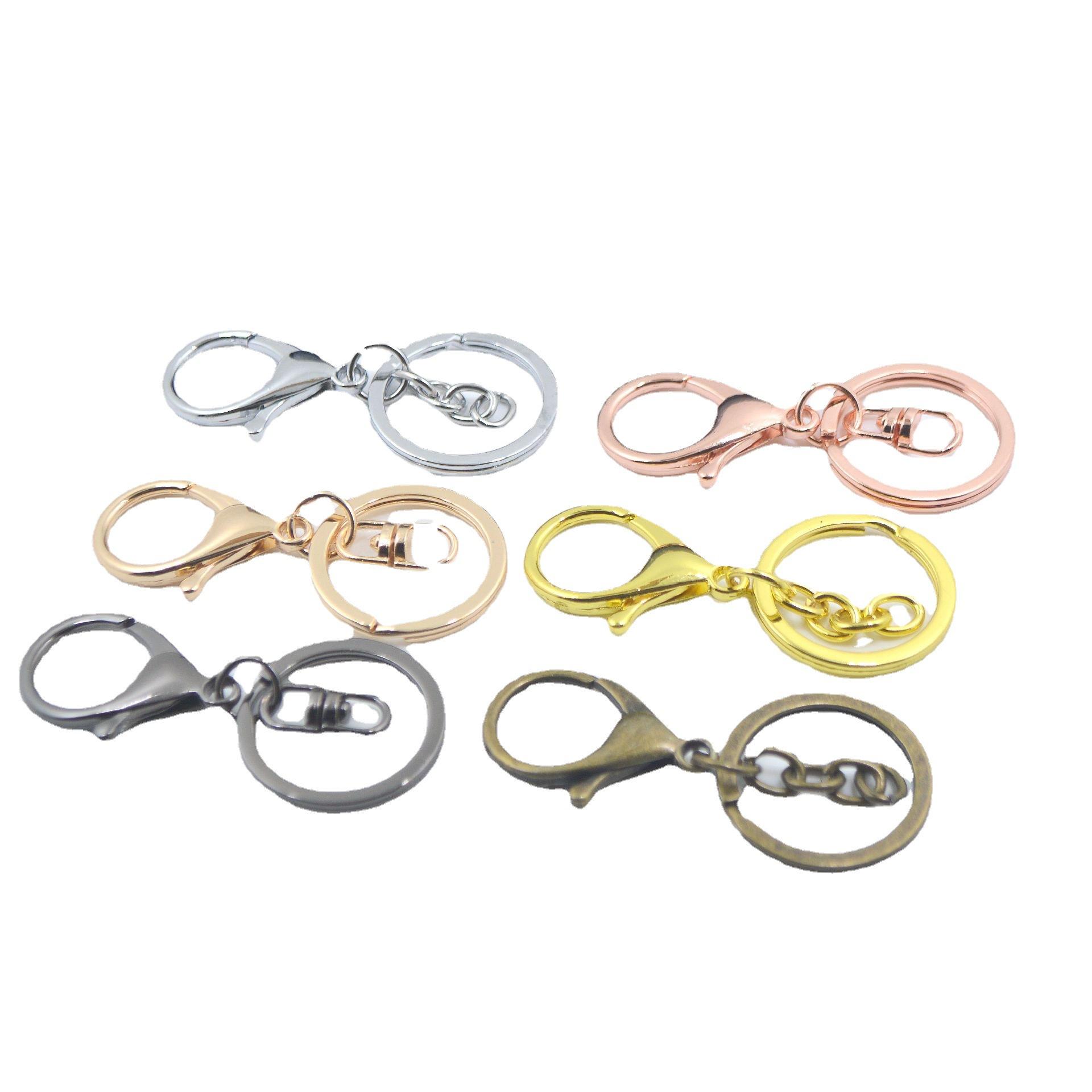 厂家直供30mm金属钥匙扣电镀封铀三件套 8字龙虾扣DIY服饰配件