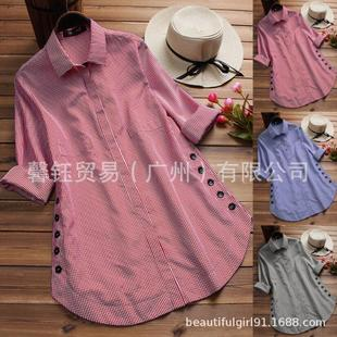 A large number of stocks in the fall of 2021 new casual plaid irregular side buttons hem loose shirt women