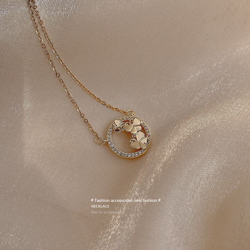 Butterfly necklace female ins cold wind...