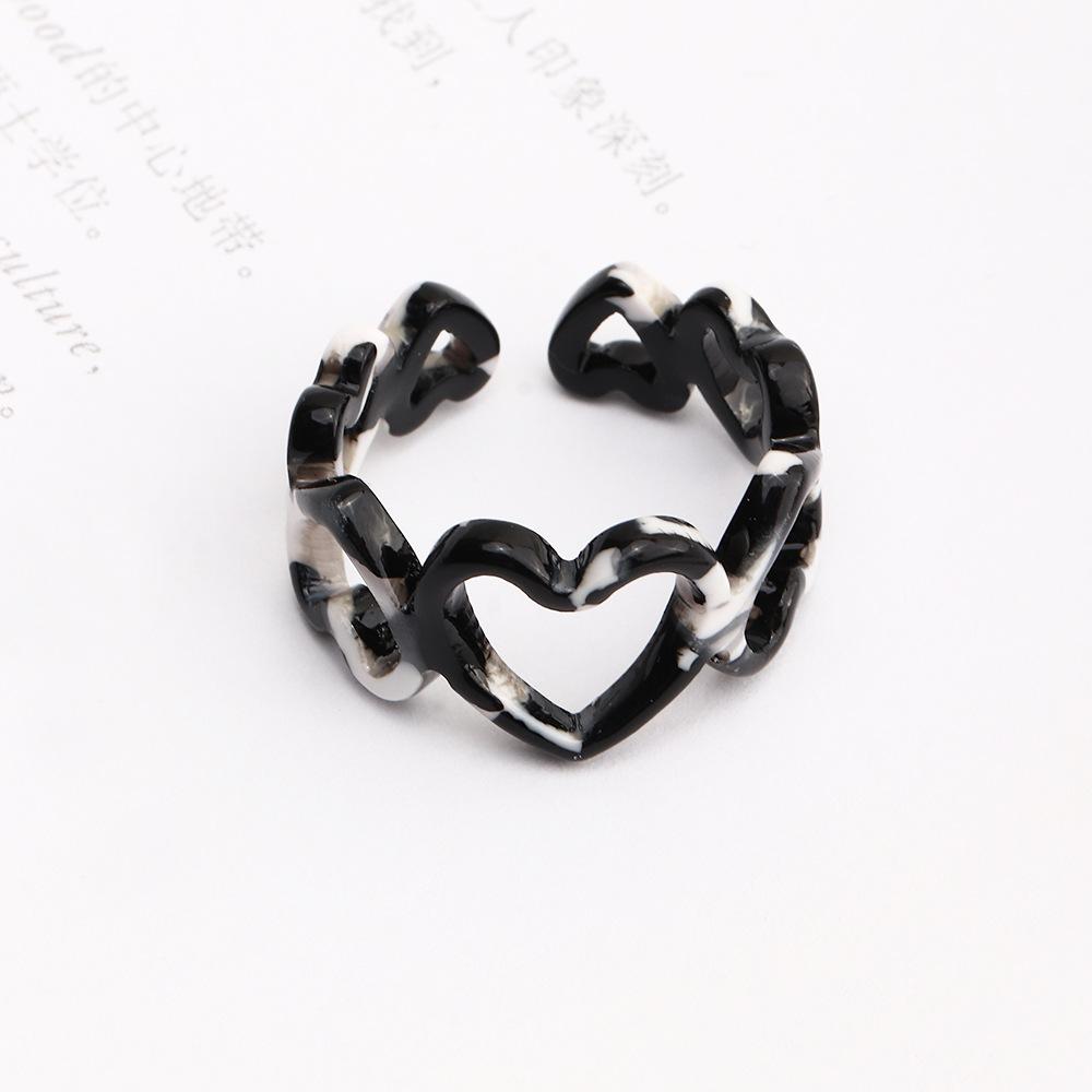 retro gradient color threedimensional heart acrylic ring NHNZ363056