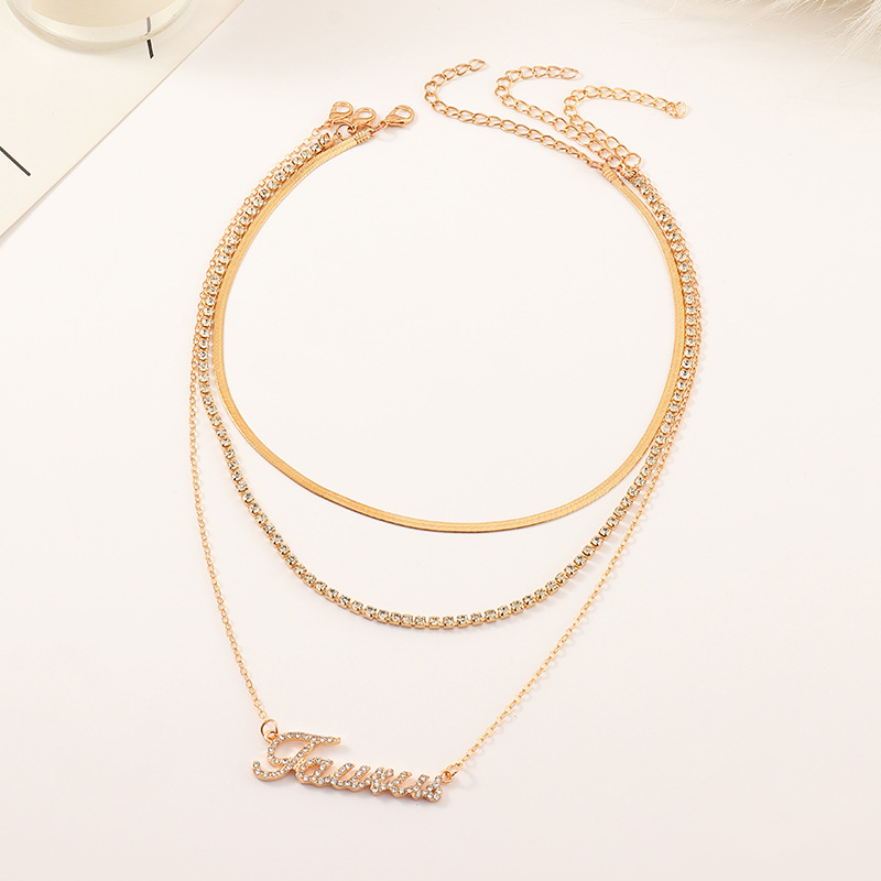 fashion diamond multi-layer twelve constellation necklace NHNZ300901