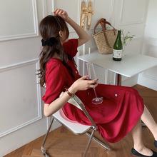 【歌铭】红色连衣裙女2021年新款夏季法式方领收腰气质长裙DZ015H
