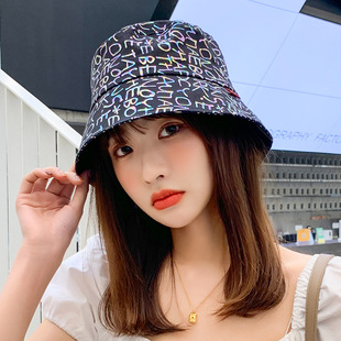 2021 spring and summer by color trend sunscreen hats new ladies Korean letter basin hat wholesale