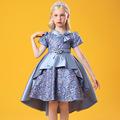 凯莉莎女童公主裙花纹拖尾小礼服蝴蝶结领口表演服短袖缎布蓬蓬裙