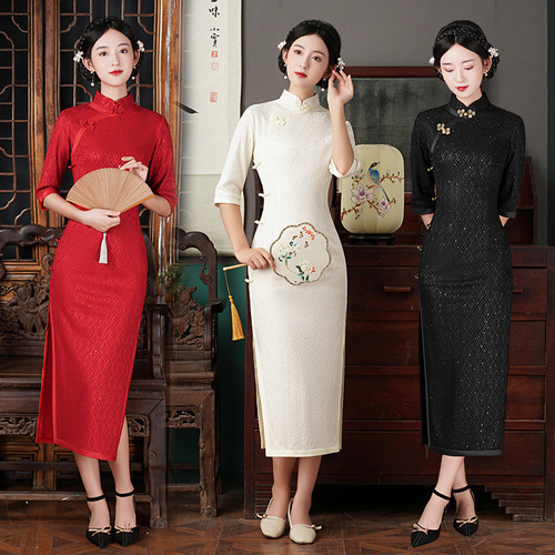 Black red white Sequined lace Chinese dress for women oriental cheongsam retro improved young girl photos shooting host singers model showcheongsam dress