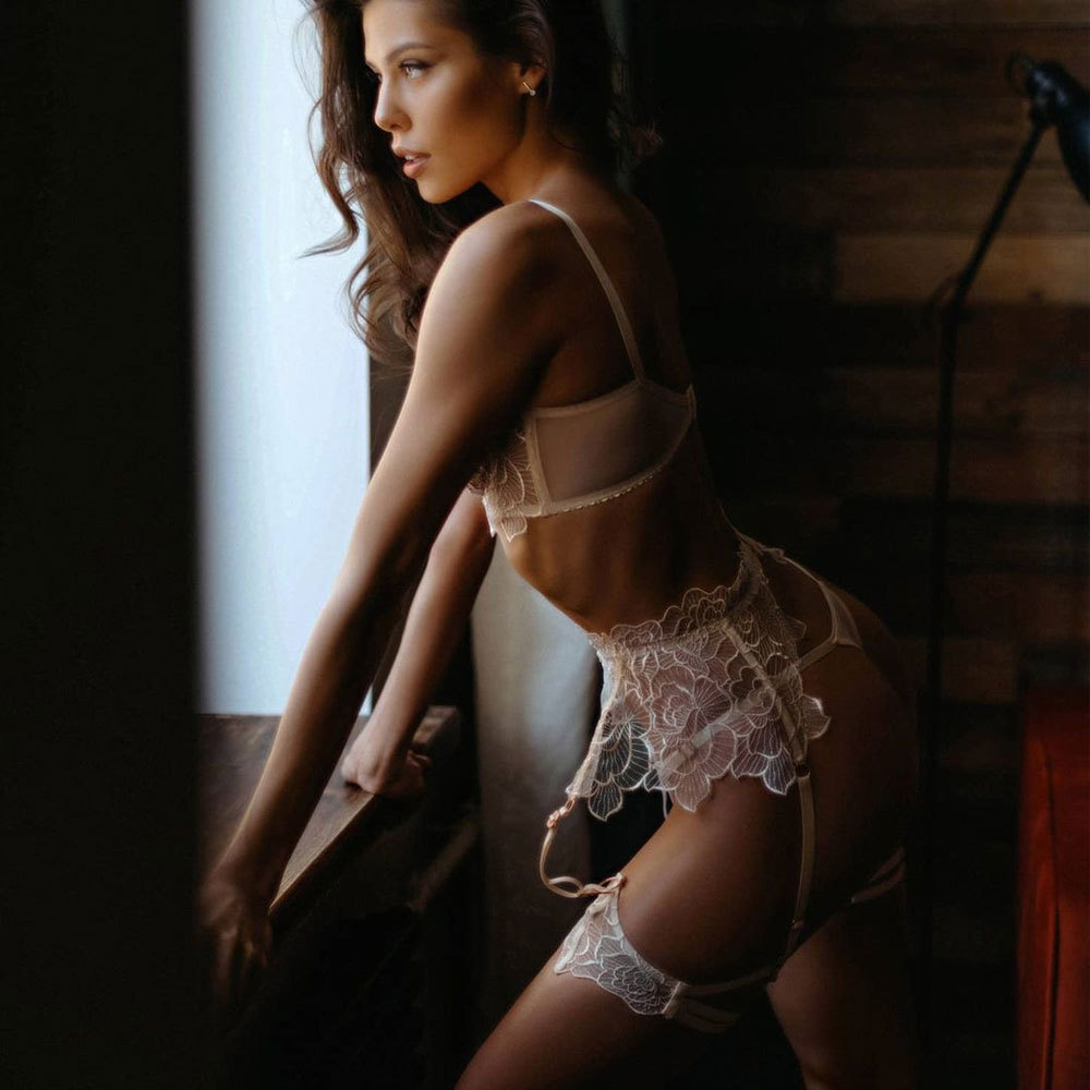 New embroidery complex craftsmanship see-through lace lingeries set NSYX64710