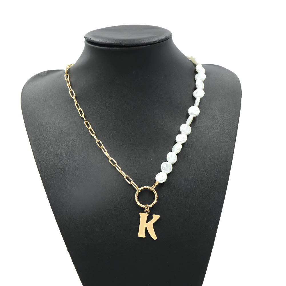 simple metal pearl double piece creative necklace NHJQ307862