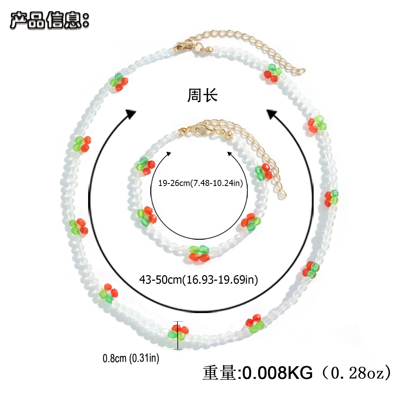 New handmade beads woven flower pendant necklace bracelet set  NHJQ368115