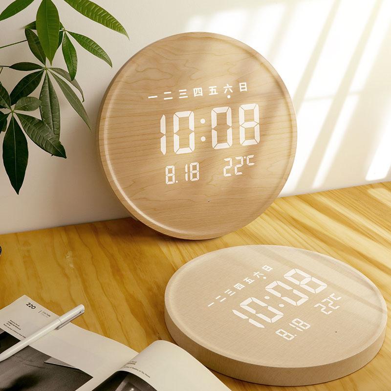 LED创意挂钟夜光欧式数码电子时钟客厅家用简约时尚钟表wallclock