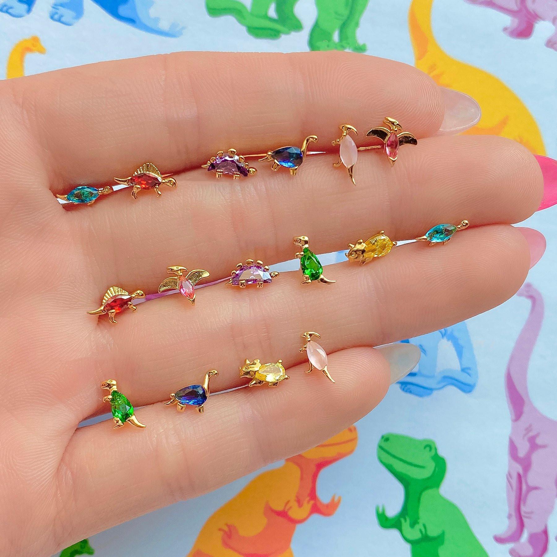 Small dinosaur series stud earrings wholesale18K gold colorpreserving jewelry tropical rainforest animal earrings  NHUW379092