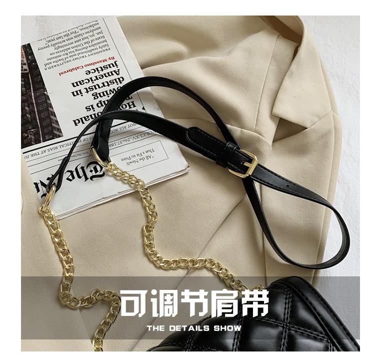 Fashion chain shoulder messenger bag embroidered thread rhombus square bag  NHTG313590