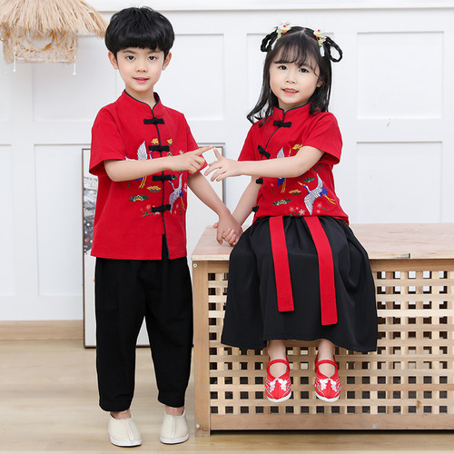 Children chinese Hanfu boys girls chinese tang suit performance suit for kids