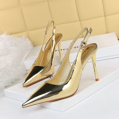 869-5 European and American wind sexy nightclub show thin metal with high heel with shallow mouth pointed hollow out aft