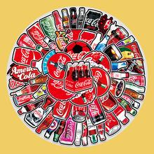 76张潮牌可乐系列涂鸦卡通贴纸笔记本电脑行李箱汽车冰箱装饰贴纸