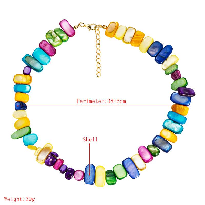 ethnic style geometric colorful dyed shells handmade beaded necklace  NHLN368607