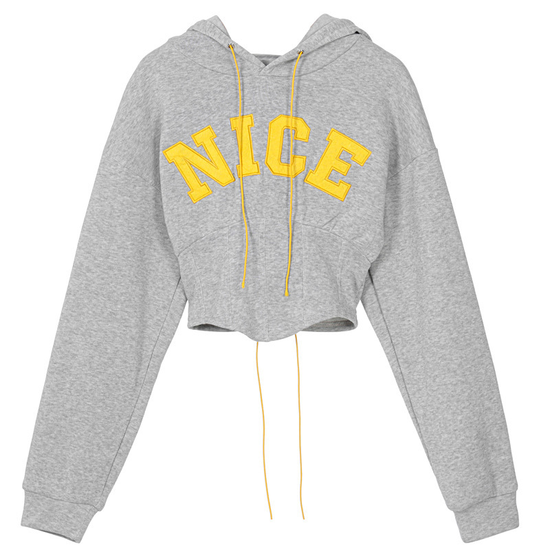 women's letter embroidery long-sleeved slim waist hoodie nihaostyles clothing wholesale NSXPF78386