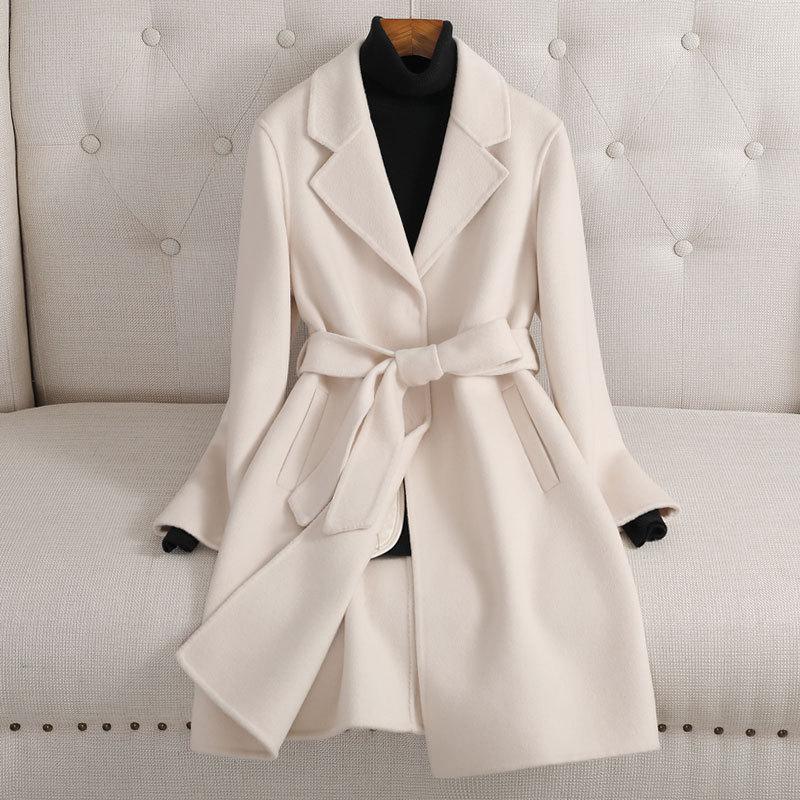 双面羊绒大衣女中长款2021秋冬新款修身时尚高端羊毛呢外套小个子