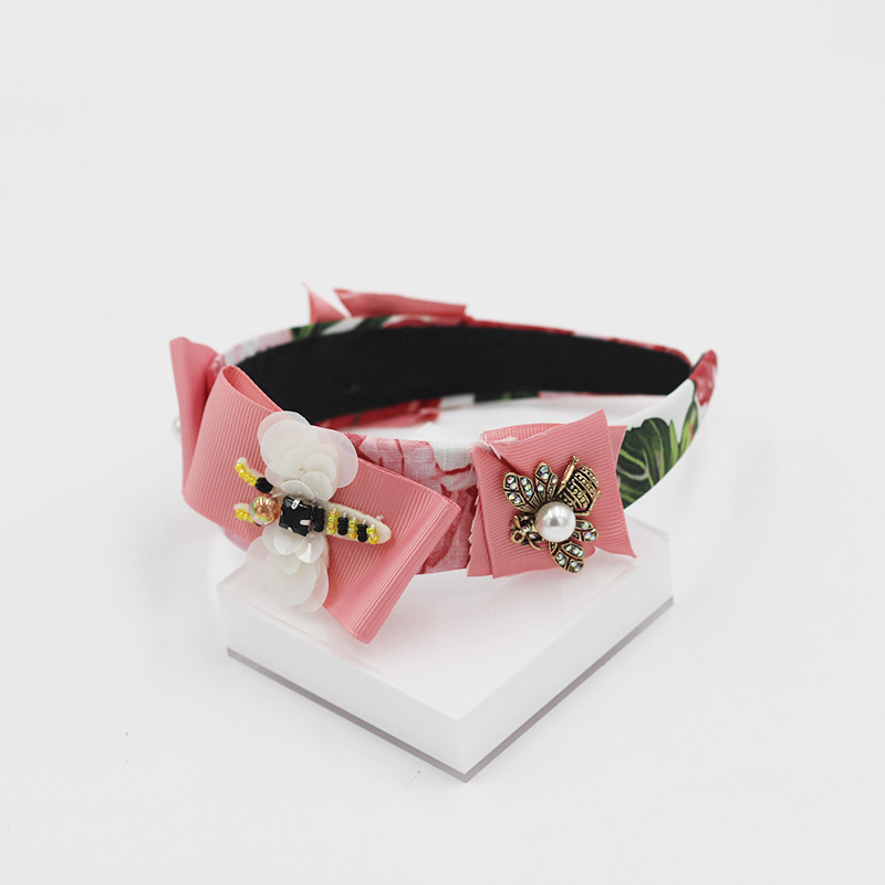 Fashion Hair Band Bee Cloth Strip Flower Diamond Pearl Headband