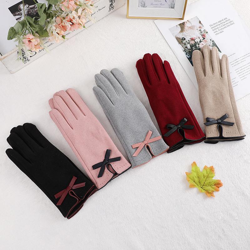 简约款时尚蝴蝶结女式韩版秋季户外骑行防寒保暖分指可触屏手套