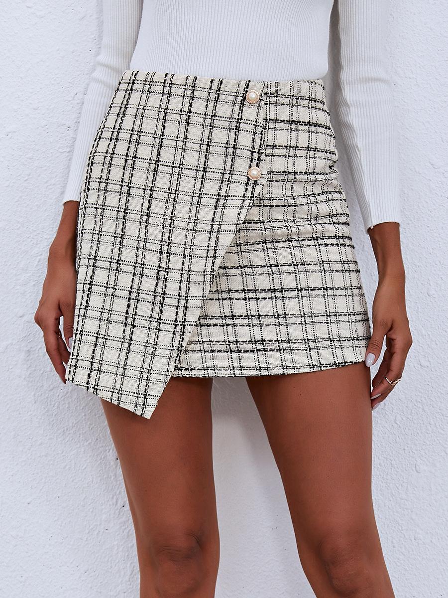 Plaid A-line Irregular Skirt  NSAL6708