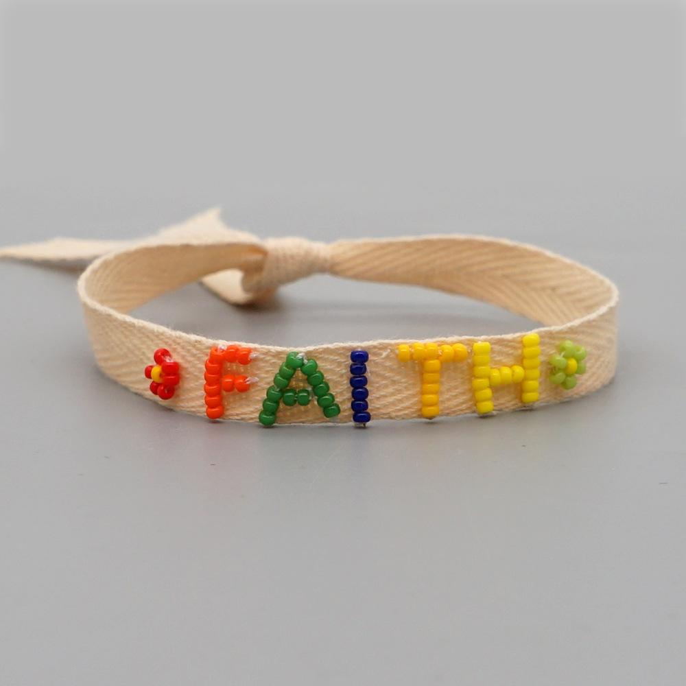 simple bohemian ribbon rainbow LOVE letter bracelet NHGW316642